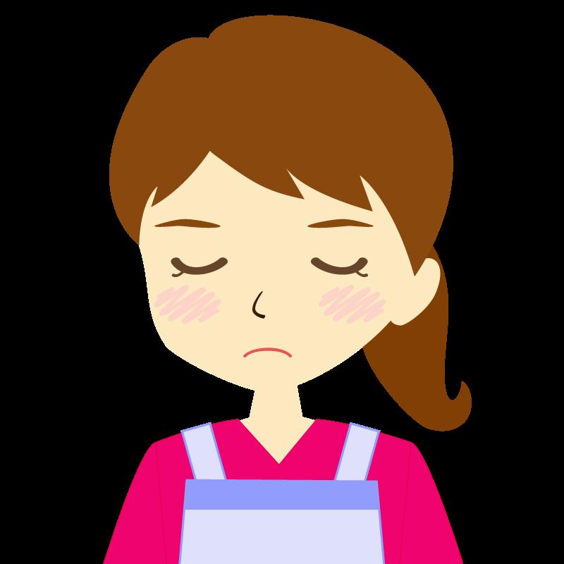 画像:エプロンを付けたポニーテールの女性イラスト表情 目を閉じる