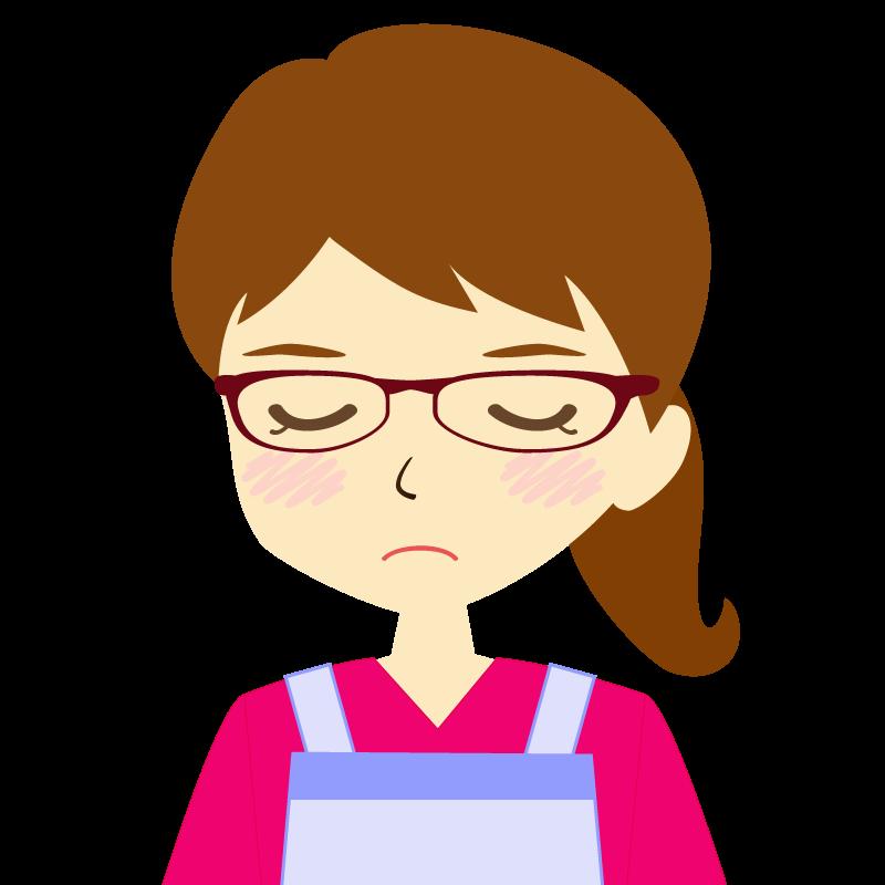 画像:エプロンを付けたポニーテールの女性イラスト表情 眼鏡 目を閉じる