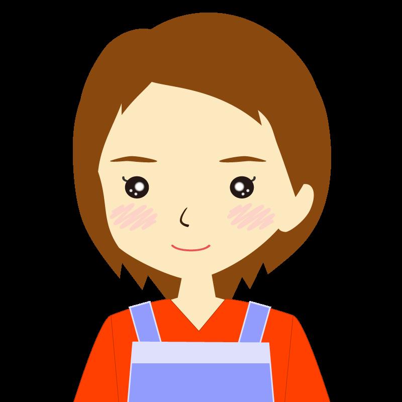 画像:エプロンを付けたショートヘアの女性イラスト表情 普通