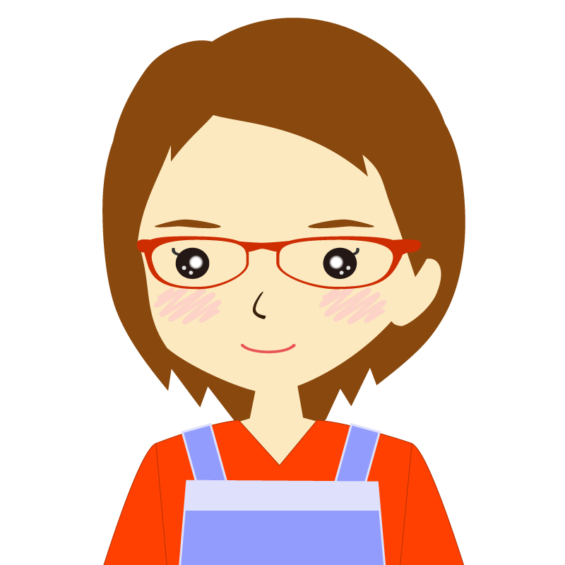 画像:エプロンを付けたショートヘアの女性イラスト表情 眼鏡 普通