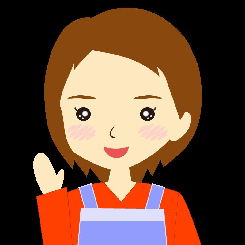 画像:エプロンを付けたショートヘアの女性イラスト表情 笑顔
