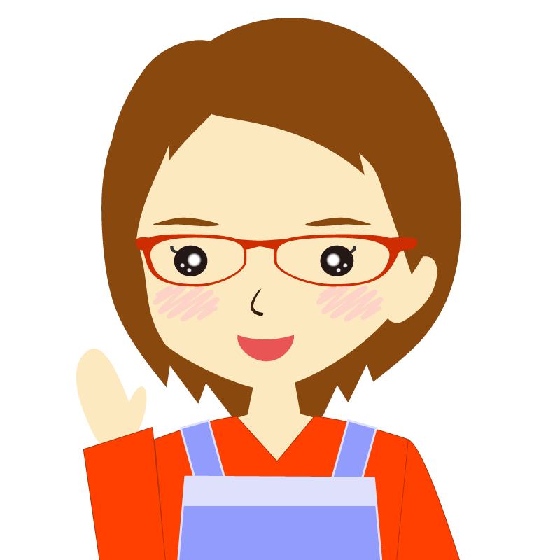画像:エプロンを付けたショートヘアの女性イラスト表情 眼鏡 笑顔