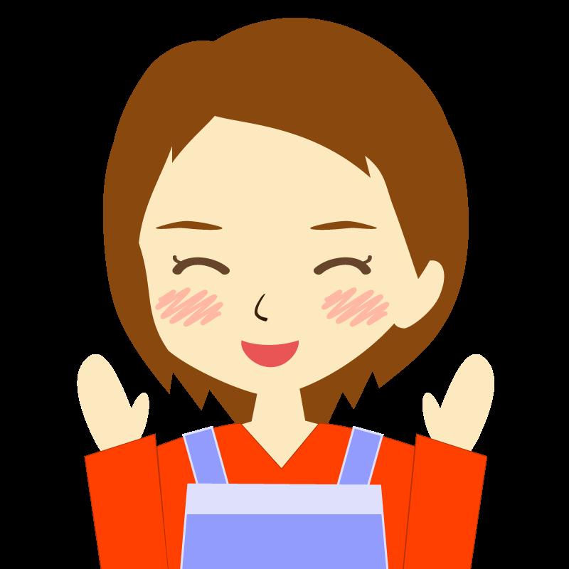 画像:エプロンを付けたショートヘアの女性イラスト表情 喜び