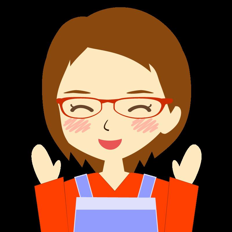 画像:エプロンを付けたショートヘアの女性イラスト表情 眼鏡 喜び