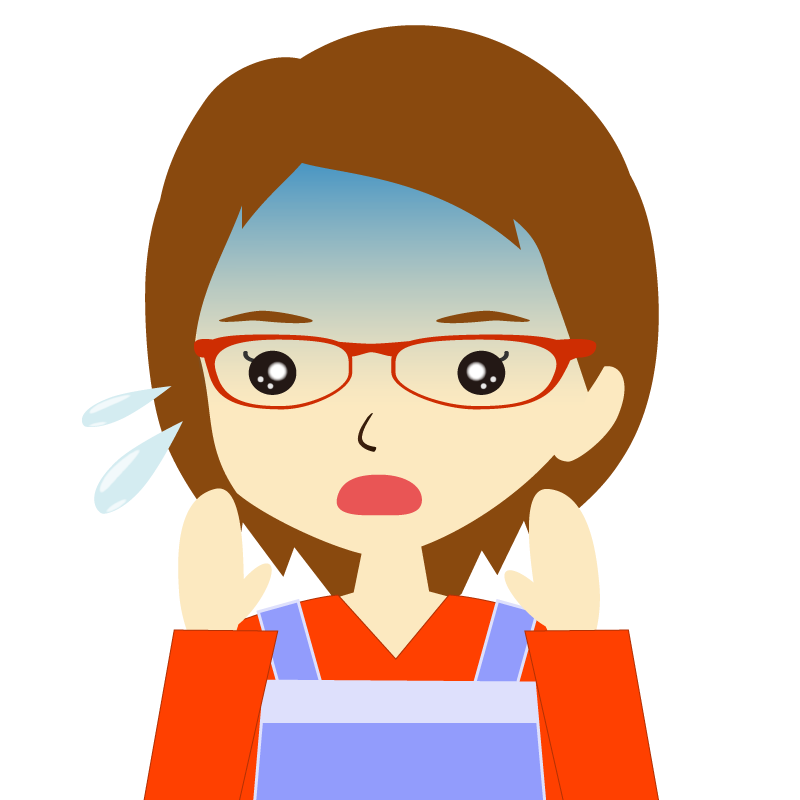 画像:エプロンを付けたショートヘアの女性イラスト表情 眼鏡 驚き
