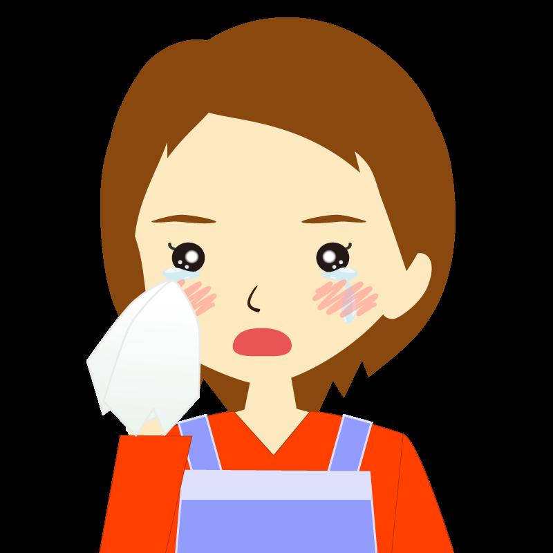 画像:エプロンを付けたショートヘアの女性イラスト表情 涙