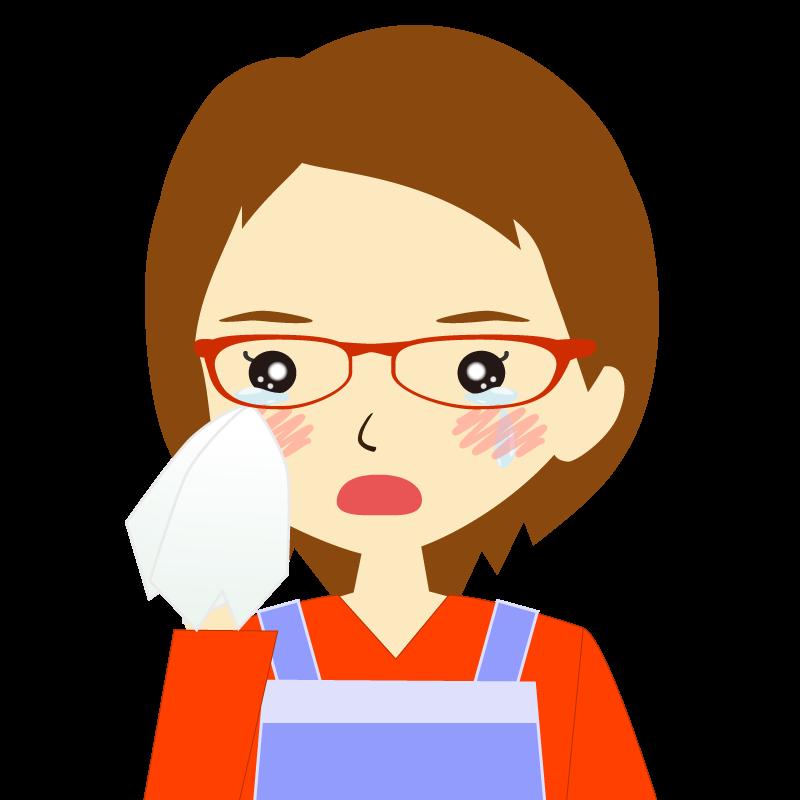 画像:エプロンを付けたショートヘアの女性イラスト表情 眼鏡 涙
