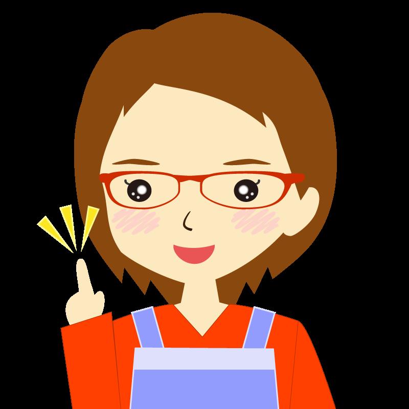 画像:エプロンを付けたショートヘアの女性イラスト表情 眼鏡 ひらめき