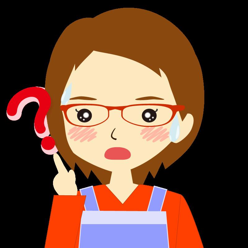 画像:エプロンを付けたショートヘアの女性イラスト表情 眼鏡 ?
