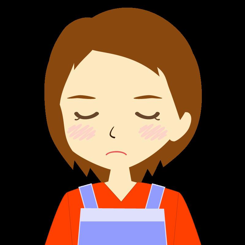 画像:エプロンを付けたショートヘアの女性イラスト表情 目を閉じる