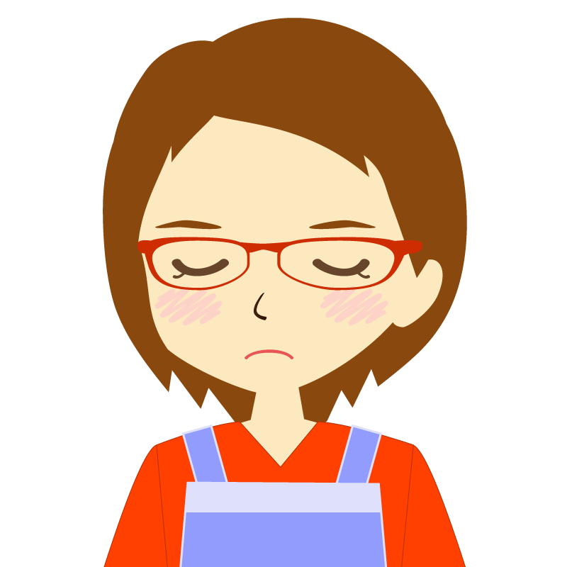 画像:エプロンを付けたショートヘアの女性イラスト表情 眼鏡 目を閉じる