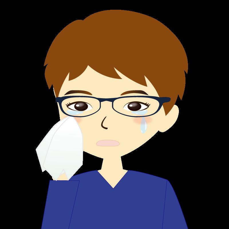 画像:男性イラスト表情 眼鏡 涙