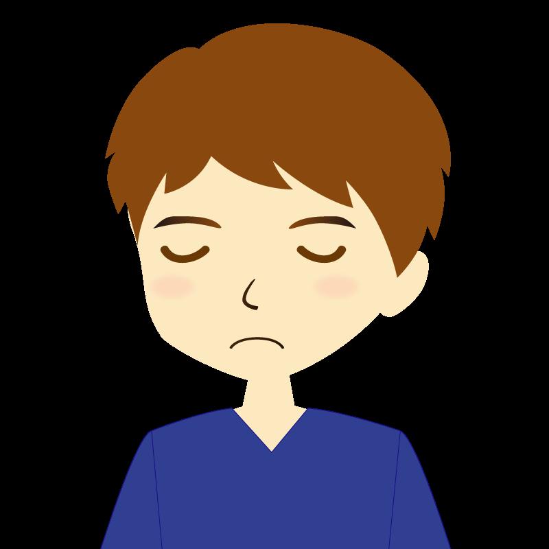 画像:男性イラスト表情 目を閉じる