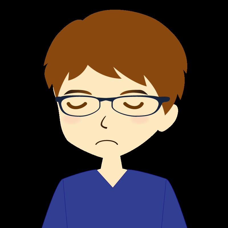 画像:男性イラスト表情 眼鏡 目を閉じる