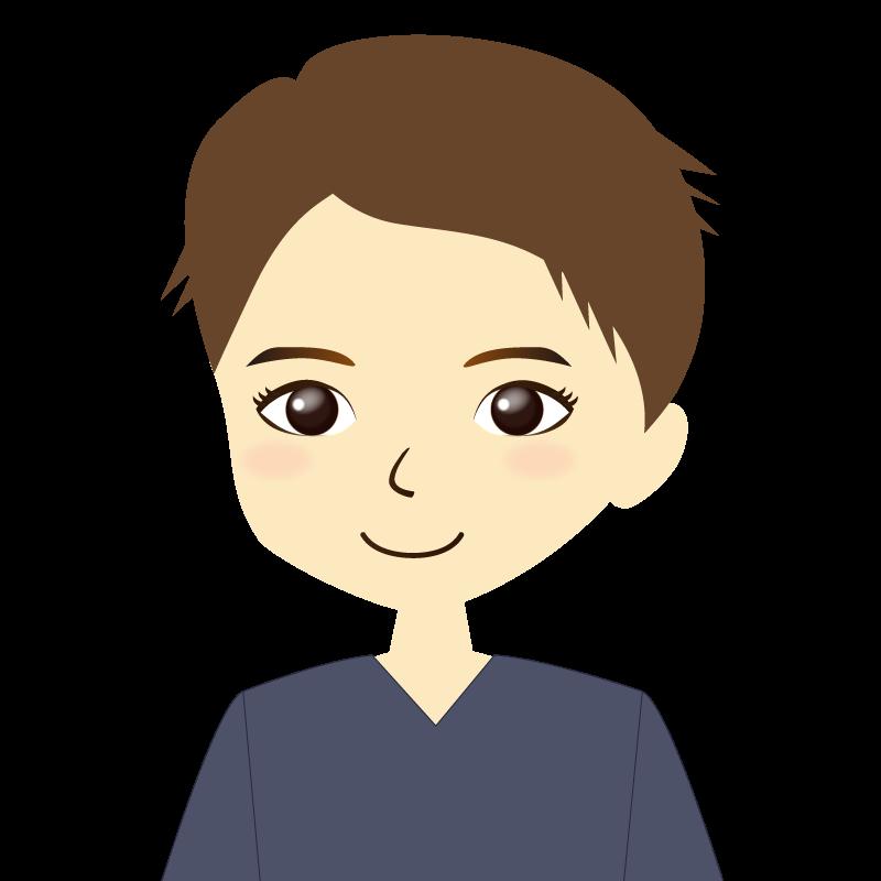 画像:短髪の男性イラスト表情 普通