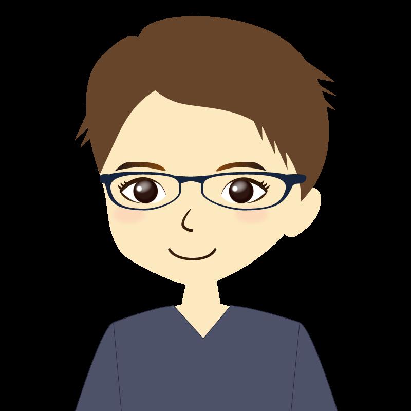 画像:短髪の男性イラスト表情 眼鏡 普通