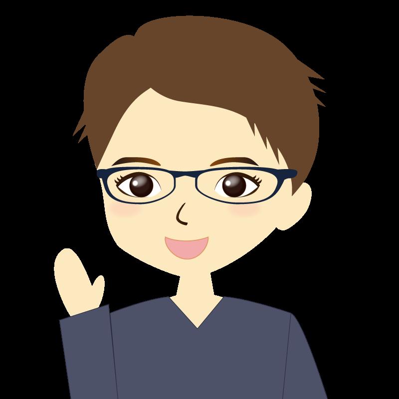 画像:短髪の男性イラスト表情 眼鏡 笑顔