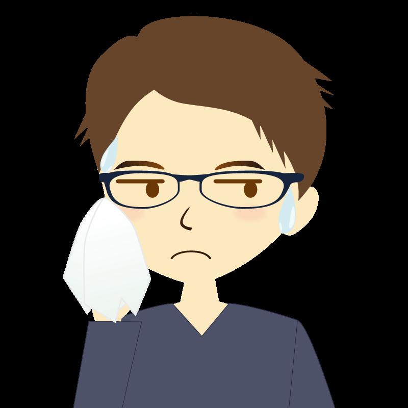 画像:短髪の男性イラスト表情 眼鏡 汗