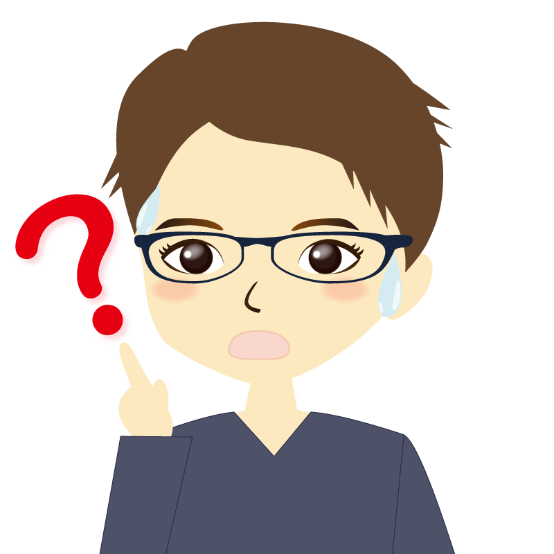 画像:短髪の男性イラスト表情 眼鏡 ?
