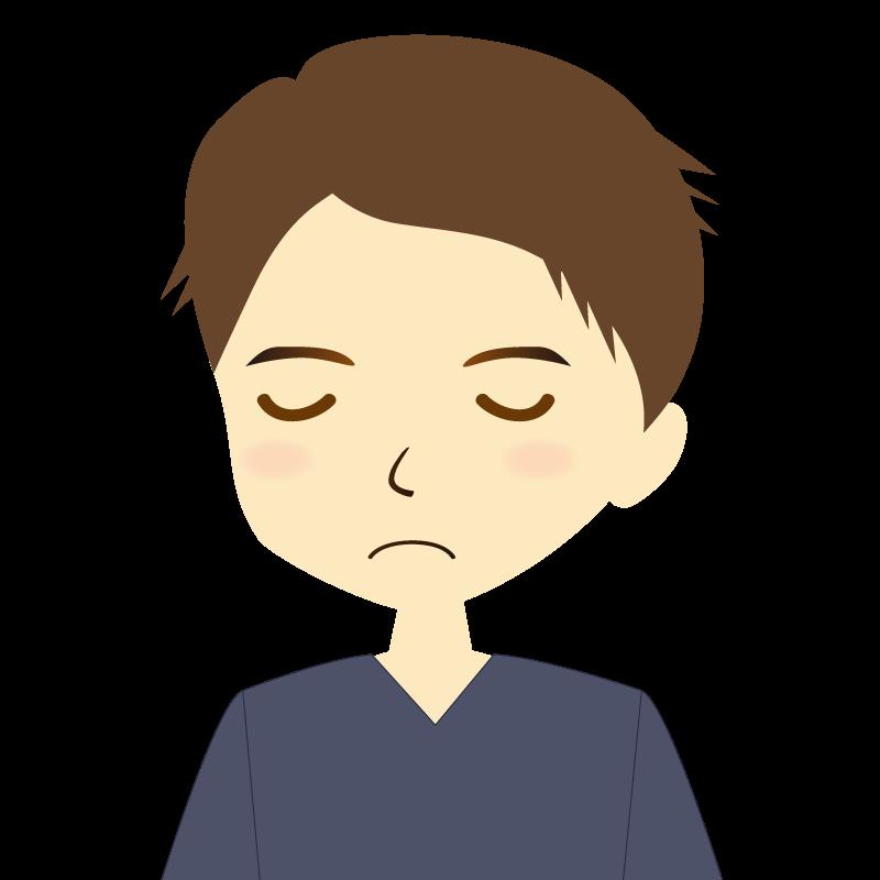 画像:短髪の男性イラスト表情 目を閉じる
