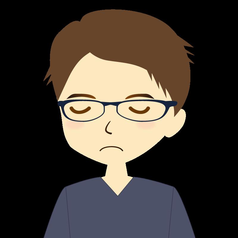 画像:短髪の男性イラスト表情 眼鏡 目を閉じる