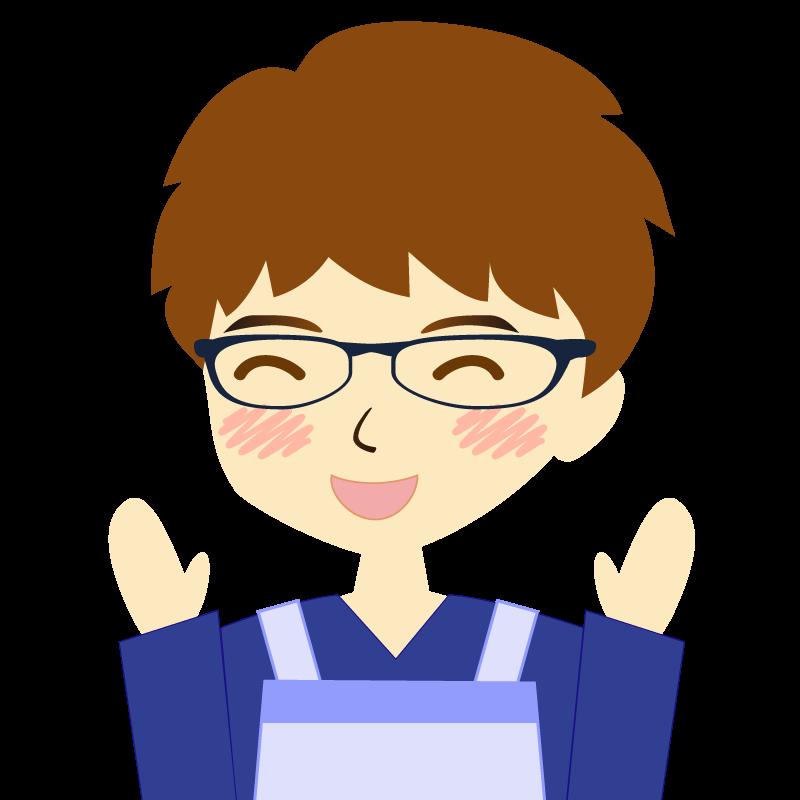 画像:エプロンを付けたパーマ頭の男性イラスト表情 眼鏡 喜び