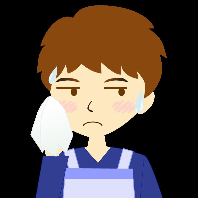 画像:エプロンを付けたパーマ頭の男性イラスト表情 汗