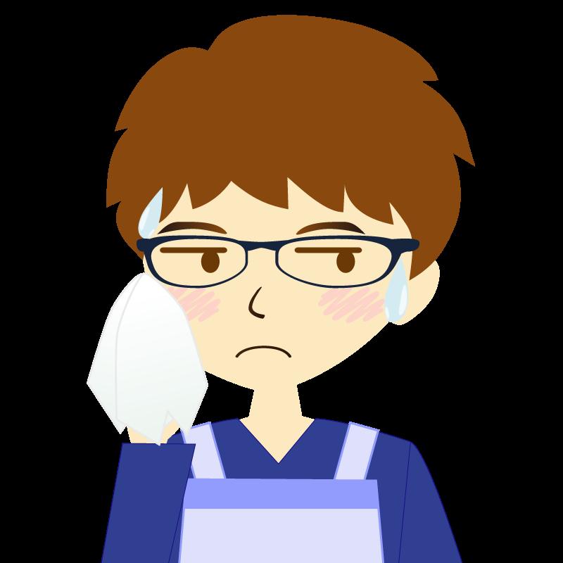 画像:エプロンを付けたパーマ頭の男性イラスト表情 眼鏡 汗