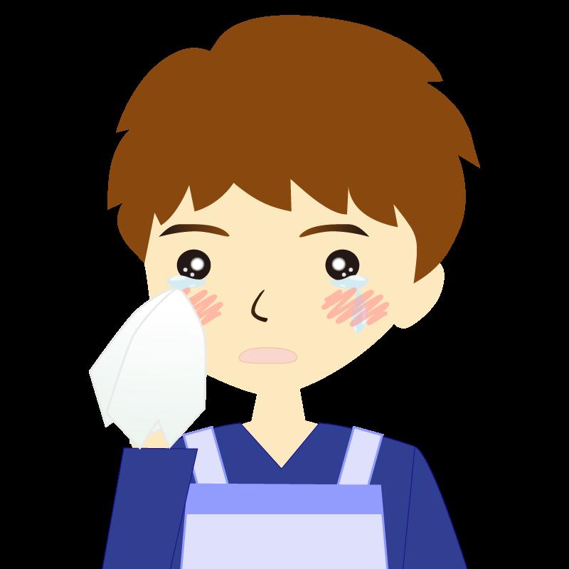 画像:エプロンを付けたパーマ頭の男性イラスト表情 涙