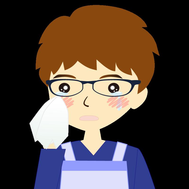 画像:エプロンを付けたパーマ頭の男性イラスト表情 眼鏡 涙