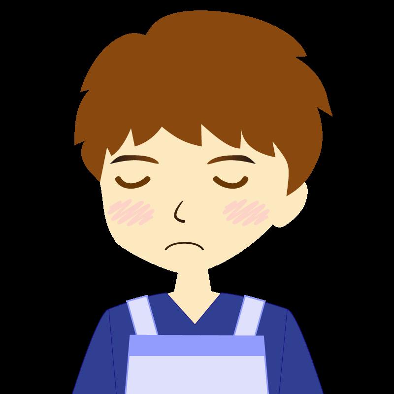 画像:エプロンを付けたパーマ頭の男性イラスト表情 目を閉じる
