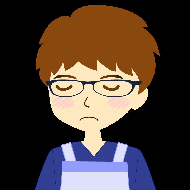 画像:エプロンを付けたパーマ頭の男性イラスト表情 眼鏡 目を閉じる