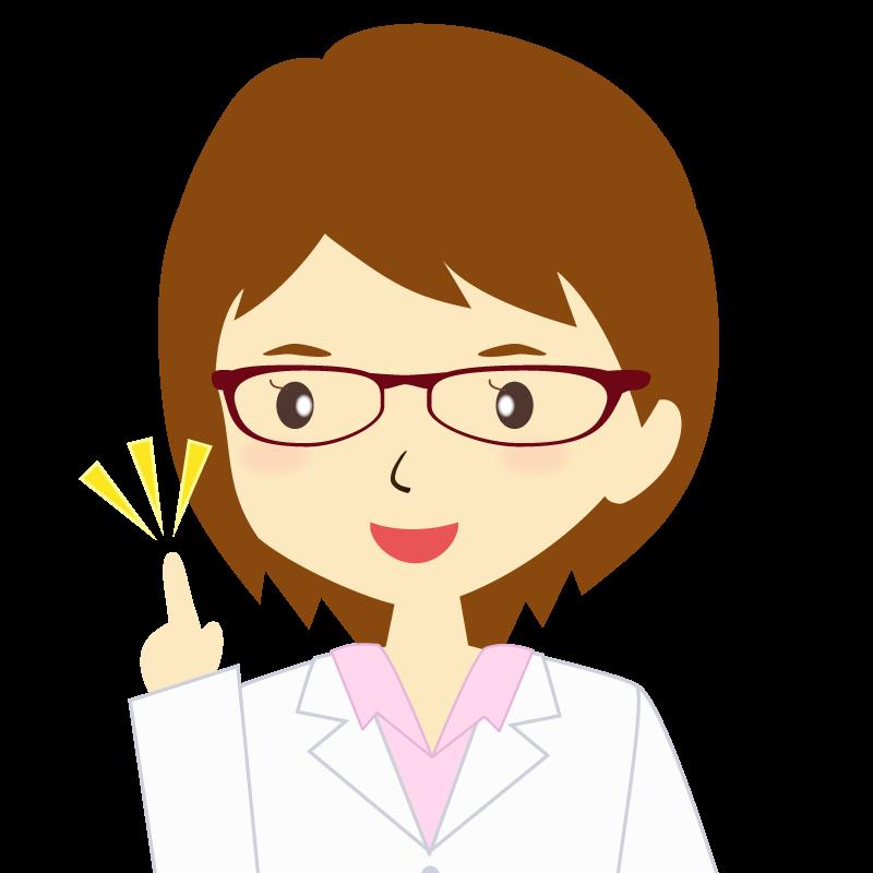 画像:白衣を着た女性・ショートヘア 眼鏡 ひらめき