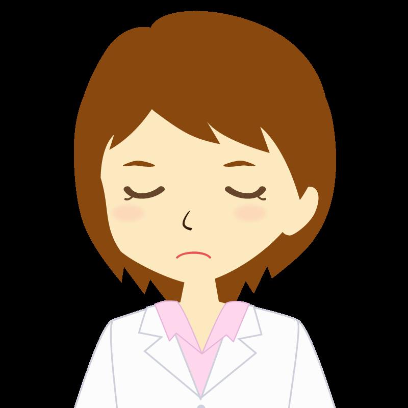 画像:白衣を着た女性・ショートヘア 目を閉じる