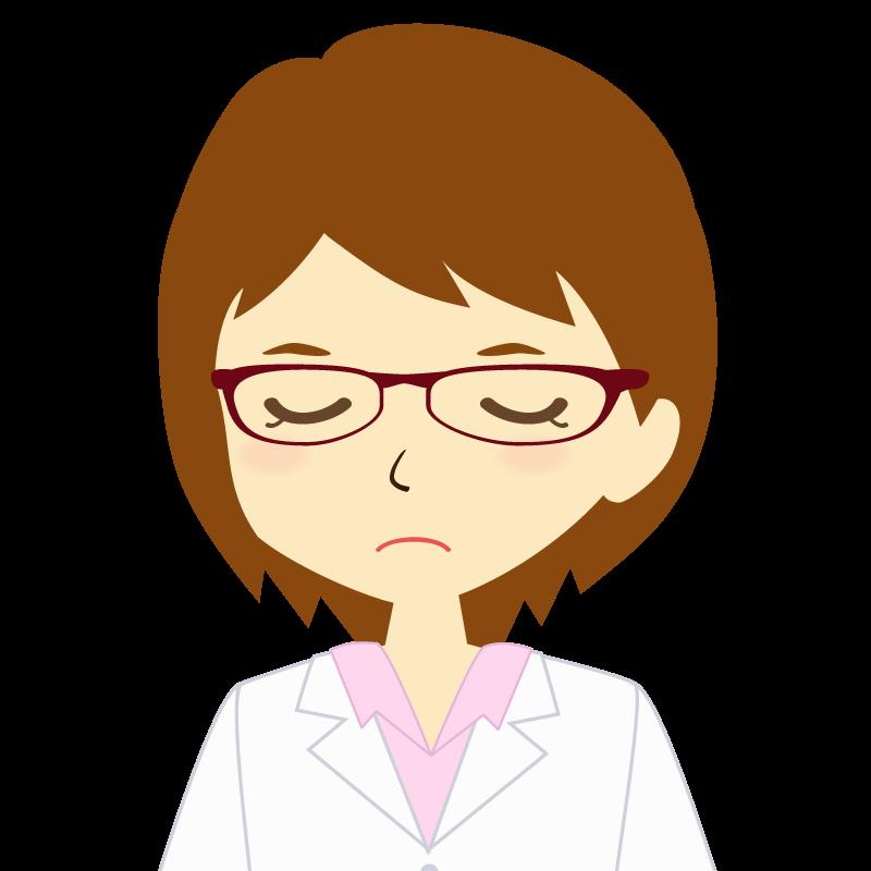 画像:白衣を着た女性・ショートヘア 眼鏡 目を閉じる