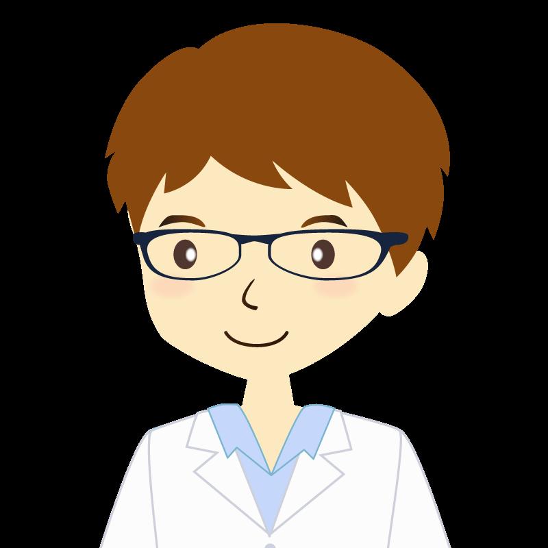 画像:白衣を着た男性・パーマ頭 眼鏡 普通