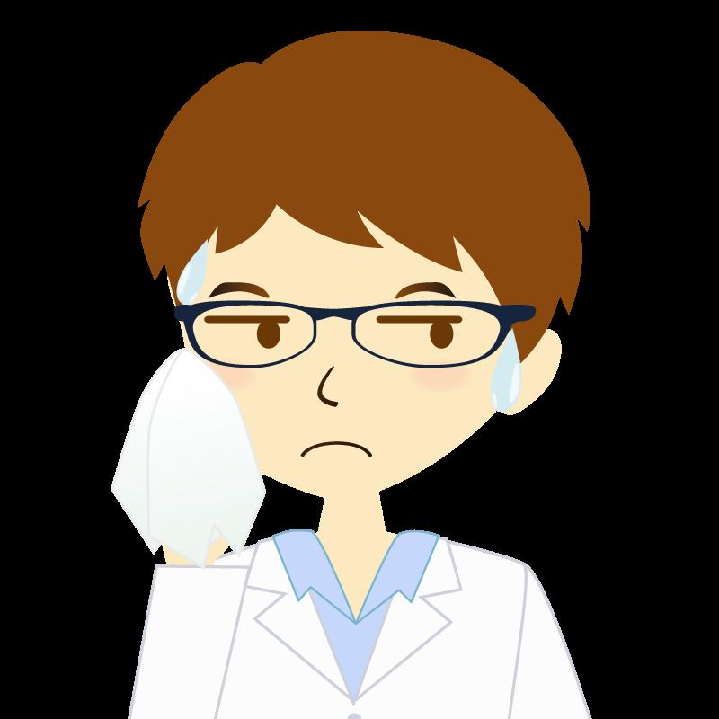 画像:白衣を着た男性・パーマ頭 眼鏡 汗