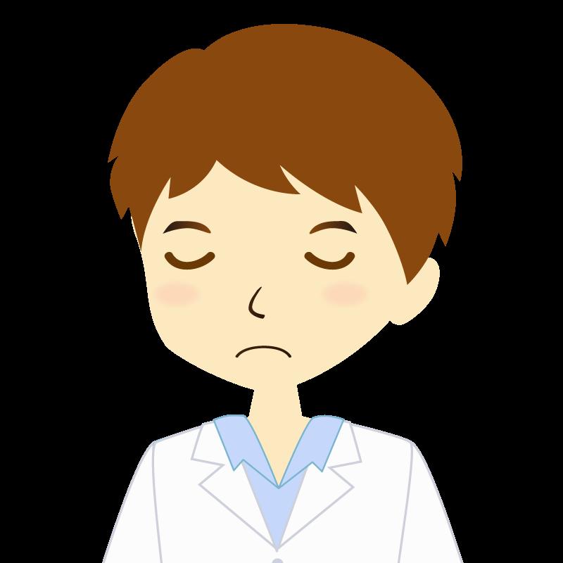 画像:白衣を着た男性・パーマ頭 目を閉じる