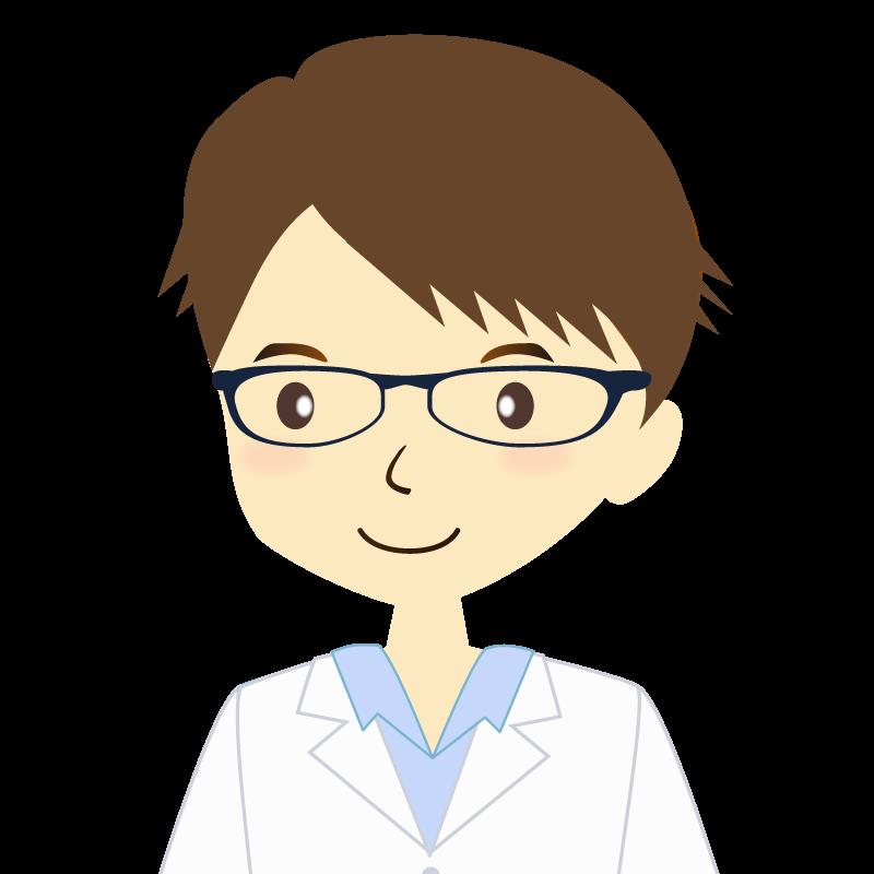 画像:白衣を着た男性・横分け 眼鏡 普通