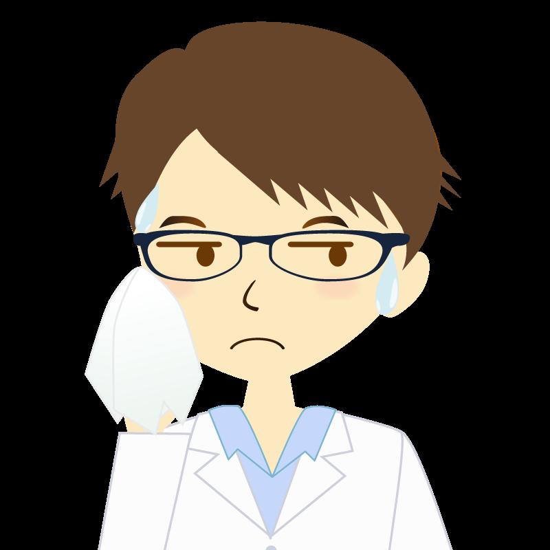 画像:白衣を着た男性・横分け 眼鏡 汗