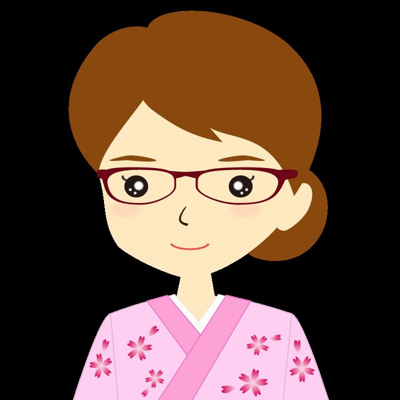 画像:着物を着た女性・お団子ヘア 眼鏡 普通
