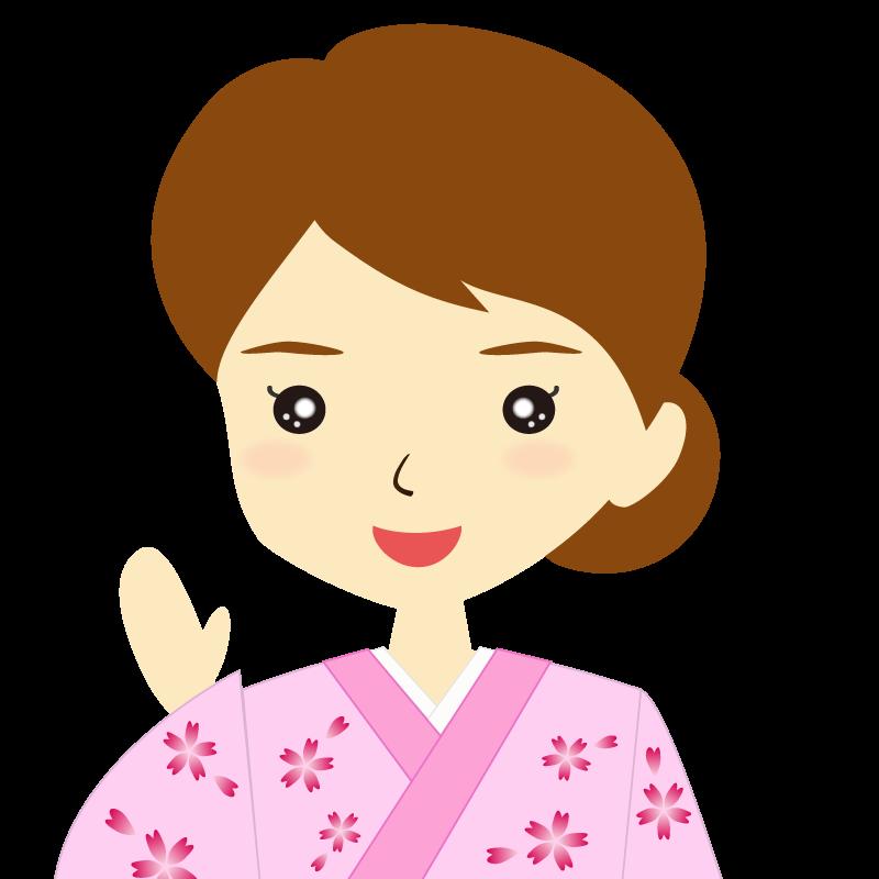 画像:着物を着た女性・お団子ヘア 笑顔