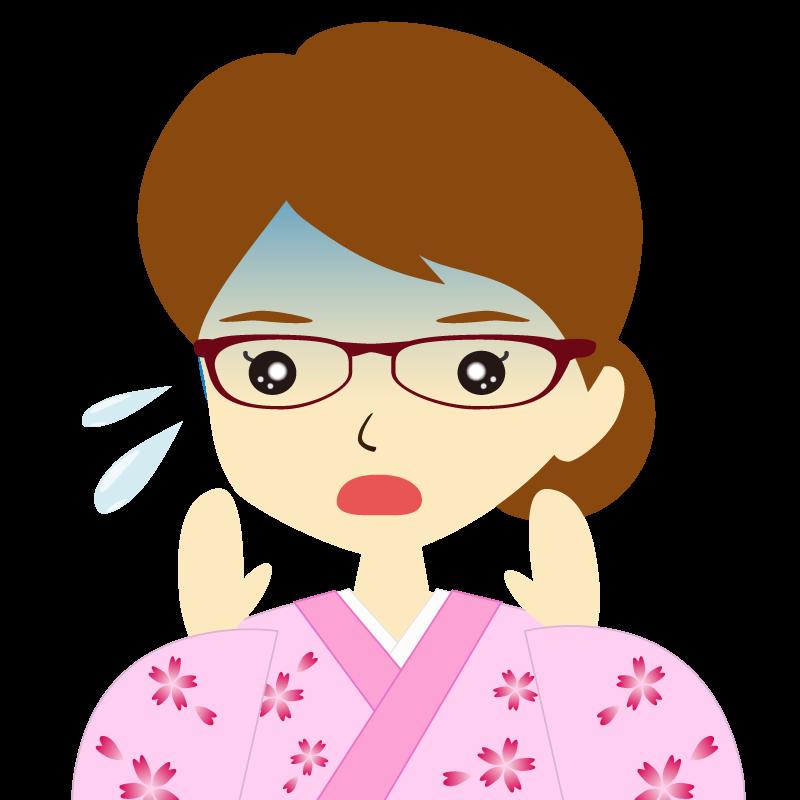 画像:着物を着た女性・お団子ヘア 眼鏡 驚き