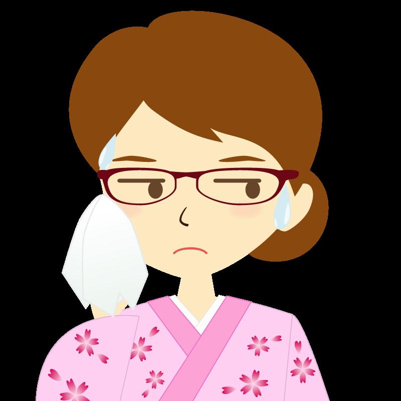 画像:着物を着た女性・お団子ヘア 眼鏡 汗