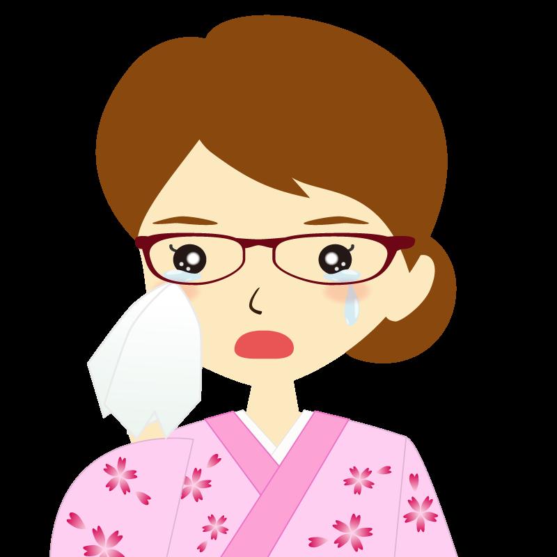 画像:着物を着た女性・お団子ヘア 眼鏡 涙
