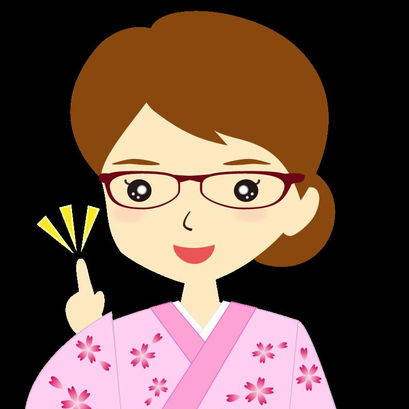 画像:着物を着た女性・お団子ヘア 眼鏡 ひらめき