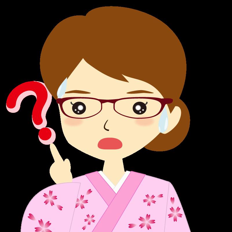 画像:着物を着た女性・お団子ヘア 眼鏡 ?