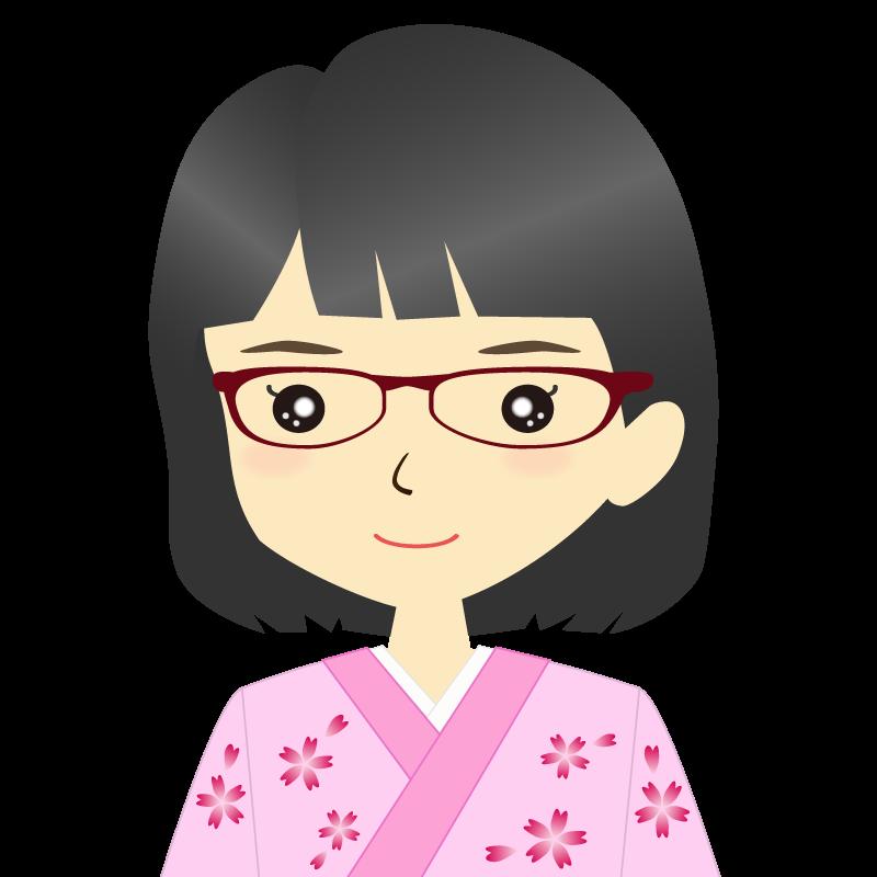 画像:着物を着た女性・おかっぱ 眼鏡 普通