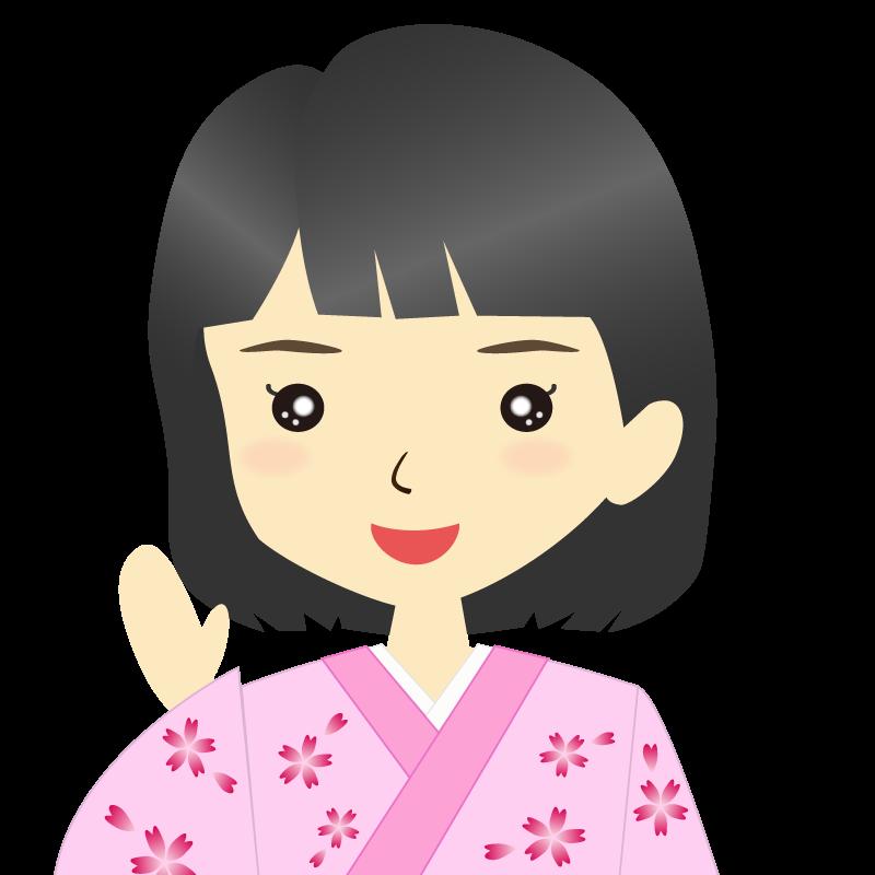 画像:着物を着た女性・おかっぱ 笑顔