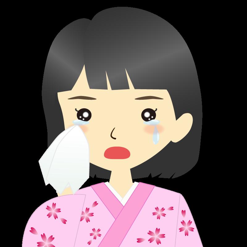 画像:着物を着た女性・おかっぱ 涙